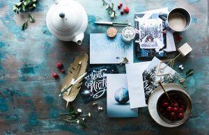 postais onde se escrevem mensagens de natal
